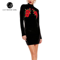 Embroidery Flower Velvet Women Dress Sexy Long Sleeve Bodycon Dress Autumn Winter Vintage Short Dress Vestidos