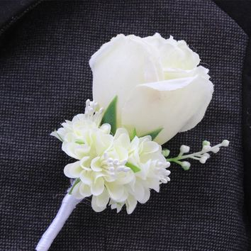 WeddingBobDIY Boutonniere Ivory Groom Groomsman Best Man Rose Flowers Wedding Bouquet Accessories Party Bride Suit Decoration