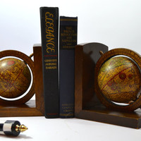 Vintage Globe Bookends, Wood World Bookends, Office Decor, Library Bookends,  Made in Italy
