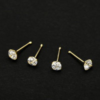 (20 pcs) 925 sterling silver CZ Bone Pin piercing Nose studs