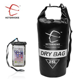HITORHIKE 25L Water-Resistant Dry Bag + Phone Waterproof Bag Outdoor Travelling Camping floating Backpack Swimming Bags