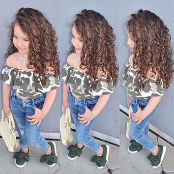2017 new arrival summer children's clothing set top+pants 2pcs kids girl's costume camouflage t-shirt&hole jeans child clothes
