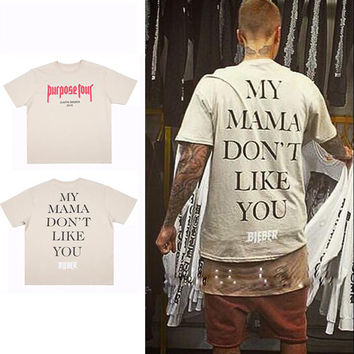 Tee Shirt Justin Bieber Fear Of God Purpose Tour  MY MAMA DONT LIKE YOU BIEBER men's  Oversized