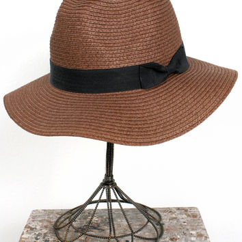 Simple Straw Fedora, Brown