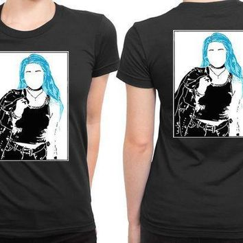 Halsey Sketch White And Blue 2 Sided Womens T Shirt