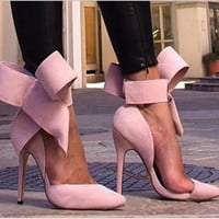 High Heel King Size Butterfly Suede Pointed Toe Plus Size Shoes = 4814735364