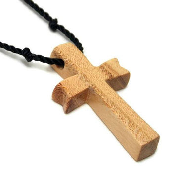 Wooden Cross Necklace Made from Honey Locust Wood, Handmade Cross Pendant with Hand Knotted Black Nylon Cord, Adjustable Length, Wood Cross