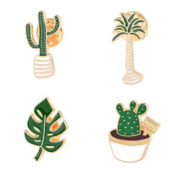 Lovely Plant Potted Enamel Brooch Collection Palm Tree Leaves Cactus Cartoon Pins