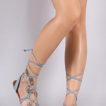 City Classified Denim Knotted Lace Up Flat Sandal