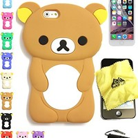 Bukit Cell Bundle: Brown 3D Teddy Bear Soft Silicone Case for 4.7 Inch Iphone 6s / Iphone 6 [ NOT for Iphone 6 plus ], Cleaning Cloth , Screen Protector , Metallic Stylus Touch Pen