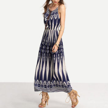 White and Blue Printed Sleeveless Maxi Dress