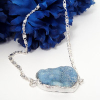 Blue Druzy Silver  Chainmaille Necklace, Dipped in Silver  Blue Drusy  Double Bail Pendant Necklace