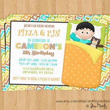 Boys Sleepover Invitation, Slumber Party Birthday Invite - Printable, Digital, Custom, Boy, Sleeping Bag, Pizza, PJs, Pajamas