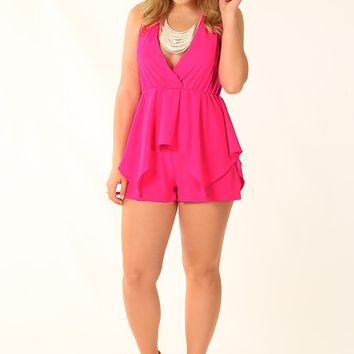 Wherever You Are Romper: Hot Pink