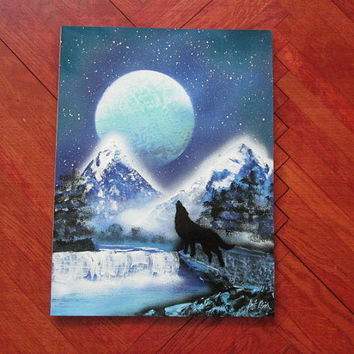 wolf painting,spray paint art,wolf gifts,boys room decor,space decor,galaxy art,birthday gifts,galaxy painting,kids room decor,wolf decor