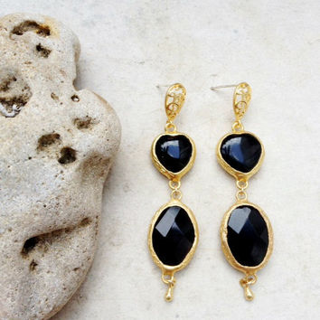 hart love Dangle Earrings long earrings fashion Jewelry black agate stones gold large bold simple gemstone earrings israel