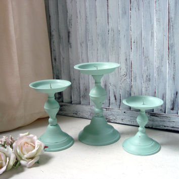Mint Green Pillar Candle Holders, Cottage Chic Green Candlestick Holders, Set of 3 Vintage Candlesticks, Shabby Chic, Home Decor, Gift Ideas