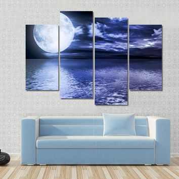 Full Moon Reflection In Water Multi Panel Canvas Wall Art