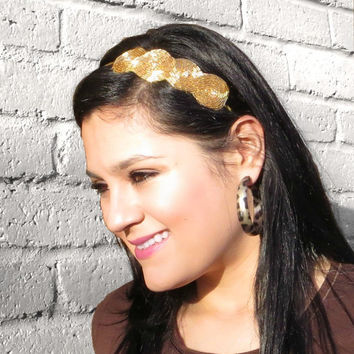 Adult Headband, Beaded Gold Art Deco Headband for Women & Teens by Flower Couture