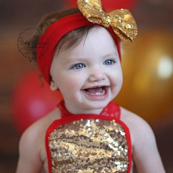 Baby Girl Messy Sequin Sparkle Big Bow Headband | BabyKDesigns Top Knot Wide Headbands | Gold Red Hot Glitter Bow Head Wrap Newborn turban