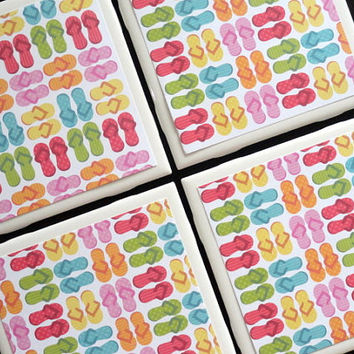 Flip Flop Coasters, Summer Coasters, Tile Coaster, Tile Coasters, Coaster, Coasters, Coaster for Drinks, Ceramic Coasters, Coaster Set of 4