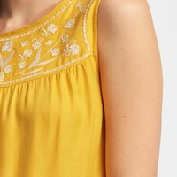 Embroidered-Yoke High-Neck Tank for Women   Old Navy
