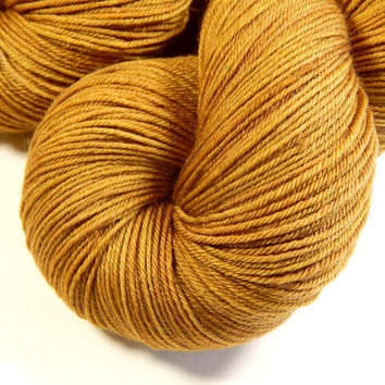 Hand Dyed Yarn - Sock Weight 4 Ply Superwash Merino Wool Yarn - Topaz - Knitting Yarn, Sock Yarn, Wool Yarn, Tonal Yarn, Gold