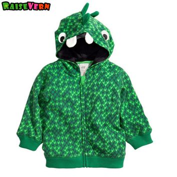 Crocodile Dinosaur Jacket 1-5T Children Boy Printed Long Sleeve Hooded Zipper Outwear Kids Casual Winter New Cardigan Clothes