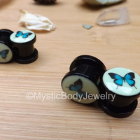 0g & 00g Butterfly Tunnels Tunnel Glow in the Dark Print Black Plugs 8mm Screw Fit Plug Butterflies Gauges Stretchers Earlobes Single Flair