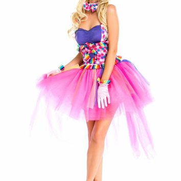 VONE05O Halloween Sexy Fantasy Clown Dress Funny Circus Fairy Princess  Cosplay Costumes For Women Carnival party  Rainbow Dress Adult