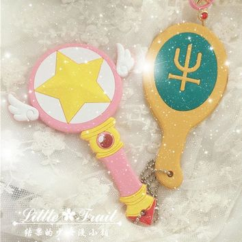 Sailor Moon Kaiou Michiru Staff Wand Mirror Anime  Cardcaptor Sakura Star Staff Wand Mirror Anime cosplay Accessories Gift
