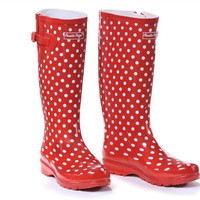 Charlie Paige Rain Boots Red Polka Dot