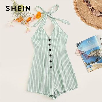 SHEIN Knot Halter Single Breasted Striped Summer Romper Women Beach Vacation Sleeveless Sexy Romper Mid Waist Casual Jumpsuit