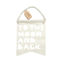 Wall Decor . Wall Banner - Moon And Back / White
