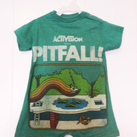 Upcycled 18 month Atari Pitfall romper Onesuit made from men's t-shirt