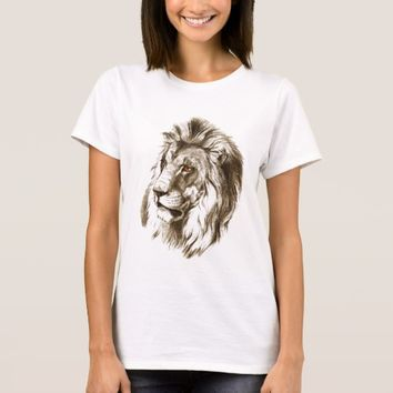 Vintage Lion With Orange Eyes Transparent Drawing T-Shirt