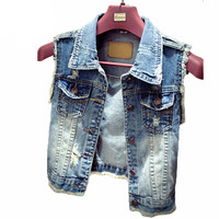 Women Denim Vest Casual Elegant Jacket 2016 Waistcoat Autumn Summer Sleeveless Jean Vest Women Vintage Single Breasted YL338