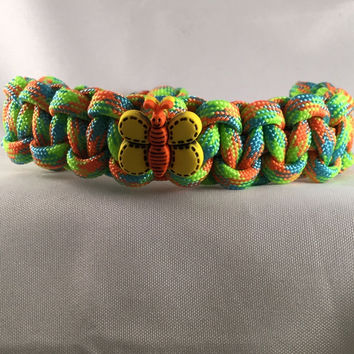 Summer Time Butterfly - Children Paracord Heaven Survival Bracelet with Adjustable Knot Closure