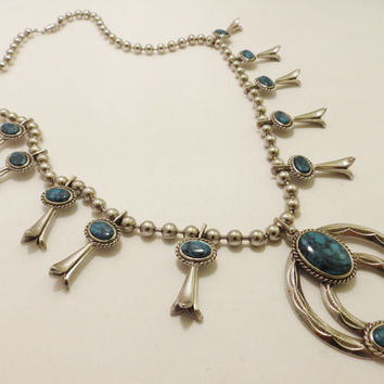 Silver Tone Faux Turquoise Squash Blossom Necklace