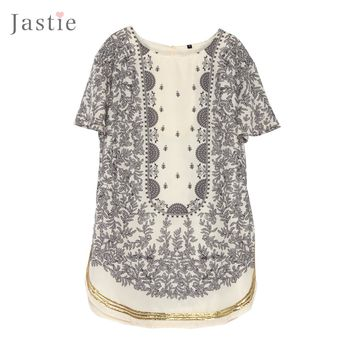 Vintage Floral Print Loose Shift Dress Sequin Trim Along The Hem Summer Mini Dresses  Round Neck Hollow Back Women Vestidos