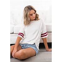 Almost Everyday Jersey Tee (Off White/Wine)