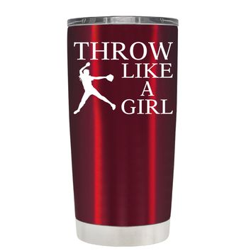 TREK Throw Like a Girl on Translucent Red 20 oz Tumbler Cup