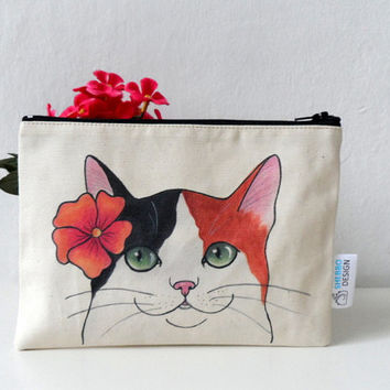 Cat Pouch, Zipper Pouch , Calico Cat with Flower , cosmetic bag, pencil case
