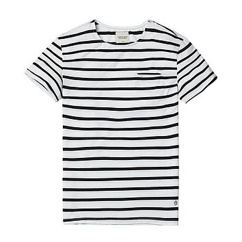 New T Shirts  Men Breton Top Fashion Slim Fit 100% Pure Cotton  Black White