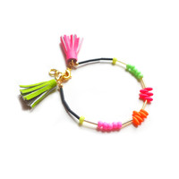 Neon Beaded Friendship Bracelet, Neon Gren and Hot Pink Leather Tassel Bracelet | Boo and Boo Factory - Handmade Leather Jewelry