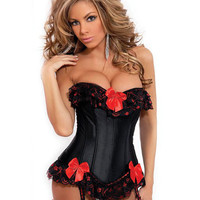 Strapless Burlesque Corset W-ruffle & Bow Accents, Removable Garters & G-string Black Small