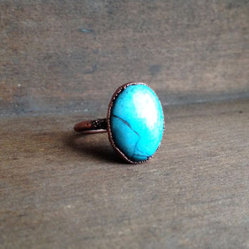 Blue Oval Howlite Ring - Statement Ring - Unique Ring - Copper Ring - Semiprecious Stone Ring - SIZE 8