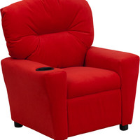 Contemporary Red Microfiber Kids Recliner with Cup Holder [BT-7950-KID-MIC-RED-GG]