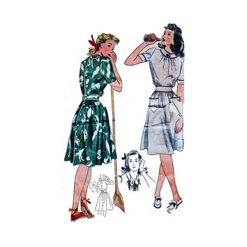 "1940's Simplicity 4229 Woman's Day Dress Size 16 || Bust 34""/ 86 cm 