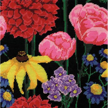 """Midnight Floral Needlepoint Kit 12""""X12"""" Stitched In Acrylic Yarn"""